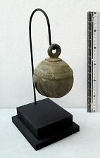 RUSTIC Old Karen Hill Tribe Bronze Round Elephant Bell & Stand 590g
