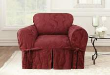 Matelasse Damask One Piece box cushion Chair Slipcover Chili
