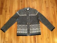 Cambridge Dry Goods FAIR ISLE 100% Wool Cardigan Sweater - Metal Clasps - Sz M