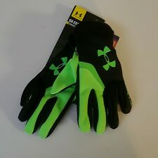 UNDER ARMOUR EXTREME CGI Tech Touch Gloves, Black/Reflective LIME GREEN, S/M