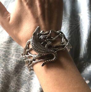awesome Som's sterling silver alligator cuff bracelet