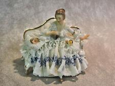 Porcelain Dresden Lace Lady on a Couch Figurine - Germany Away Hand