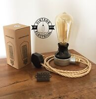 NEW INDUSTRIAL TABLE LIGHT DESK LAMP BEDSIDE TABLE DESK STEAMPUNK CABLE + BULB