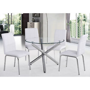Modern Lincoln Crossover Design Round Top Table & 4 Chairs Dining Set Packs of 5
