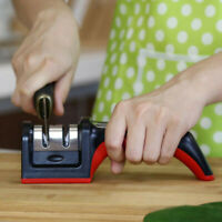 Handle Household Knife Sharpener Hard Carbide Ceramic Sharpening Stone 2 Stages