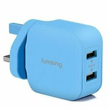 Lumsing Dual-Port USB Wall Charger For Samsung iPhone BLUE
