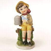 Vintage German Boy Figurine Porcelain with Blue Bird Made in Japan