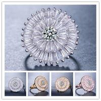 Women 925 Silver Jewelry Round Cut White Sapphire Wedding Ring Size 6-10