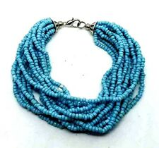 Tibet Silver Micro Beads Multi Strand Bracelet Turquoise With Free Gift Bag
