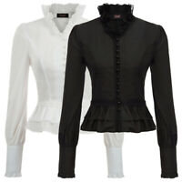Vintage Womens Steampunk Gothic Ruffle Long Sleeve Victorian Tops Blouse Shirt