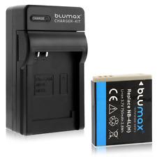 Batteria Blumax + caricabatteria casa/auto per Canon Ixus 115 Hs,120 Is,130