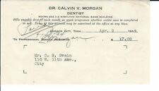 AR-009 - 1934 Dr Calvin Morgan Dentist, Johnson City, TN Receipt Vintage