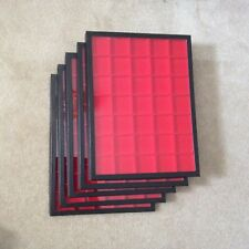 """Box (of 5) 12"""" x 16"""" Display Cases (""""Riker"""" type) with Red Dividers (35 Squares)"""