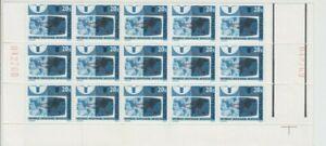 Stamps 1968 Australia 20c WWW bottom left marginal gutter block of 15 MUH scarce