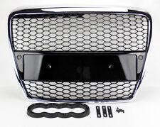 Chrome w/ Black Mesh Front Hood Bumper Grill Fits Audi A6 S6 05-07