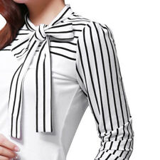 Women Tie-bow Neck Striped Long Sleeve Splicing Formal Business Shirt Blouse Top Blue 2xl