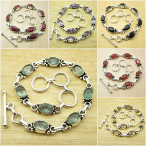 925 Silver Plated AMETHYST & Other Gemstones CHOICE UNISEX Bracelet Fashion Gift