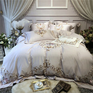 2020 Luxurious and Chic Grey Egyptian Cotton Bedding Set 4 Pieces Large King