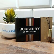 Burberry Bifold Wallet New Leather Icon Stripe Black Men 100% Authentic RRP 350$