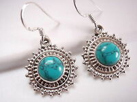 Turquoise Earrings Multi Mini Silver Dot Accents 925 Sterling Dangle Drop New
