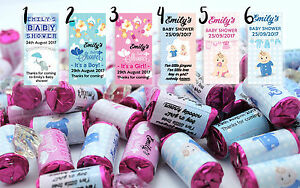 Personalised Baby Shower Love Hearts Party Favours Boy Girl Keepsake