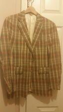 vtg 1970s Brown/Green Beige Plaid MADRAS Sportscoat 36S  Blazer Jacket