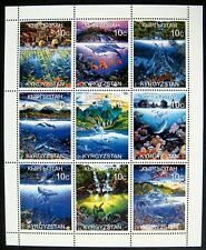 KYRGYZSTAN SEA LIFE STAMPS SHEET MNH WHALE DOLPHIN MARINE SEA TURTLE OCEAN FISH