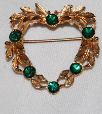 Green Rhinestones 1 1/4 Costume Jewelry Vintage Gold Plated Heart Brooch Pin