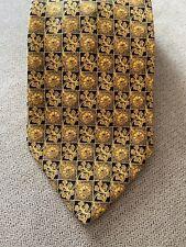 BRIONI Roma Mens Italian Silk Necktie Gold Black Floral Luxury Designer Tie