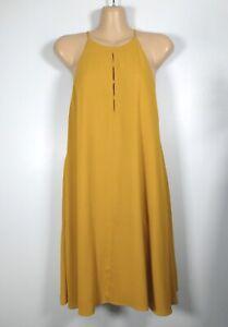 ZARA golden mustard yellow keyhole-slit sleeveless swing tunic dress, L/10-12