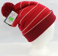 Dakine Riley Pom Knit Beanie, One Size O/S, Red with Stripes New