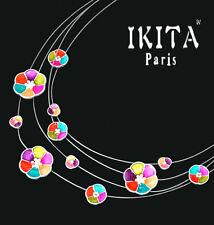 Luxus Statement Halskette IKITA Paris Collier 4 Kabel-Kette Emaille Blumen Bunt
