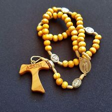 Beautiful Saint Francis of Assisi Rosary - Blessed by Pope - Wood - Assisi
