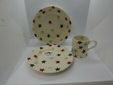 More details for emma bridgewater stars red/green pasta bowl, 8.5in plate and mug