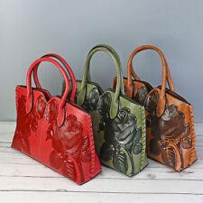 Women Vintage Leather Handbag Embossed Peony Chinese Style Shoulder Bag