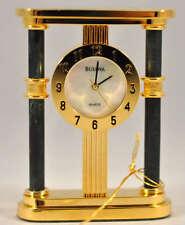 New Bulova B0583 Green Marble Mini Mother Pearl Executive Collector Desk Clock