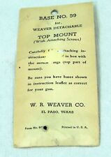 Two Weaver No. 39 Top Mounts in Original Packages