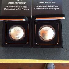 2014 Curved Baseball Coin.2 Coin Set,Proof And Uncirculated Coins.1 Oz Silver Ea