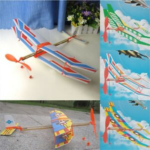 Rubber Band Powered Glider Biplane Assemble Aircraft Plane Kid Education Toy OR