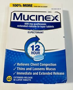 Mucinex 600mg 12 hour expectorant 40 tablets Exp 03/22 Sealed