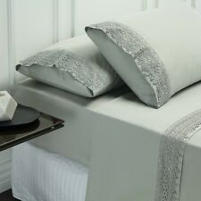 Style & Co 1000 Thread count Egyptian Cotton Lace 4 Piece Queen Sheet set Silver