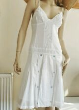 REISS beautiful white summer embroidered embellished cotton dress Size 10