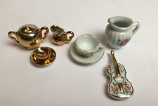 More details for miniature cups and saucers and limoges violin floral and lustre design