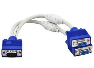 30cm VGA Splitter Cable 1x male to dual female Monitor Adaptor for 2 Displays