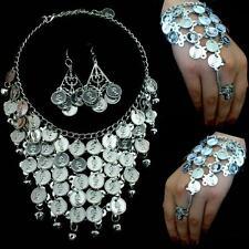 Bauchtanz Belly Dance Handschmuck Sklavenarmband Kette Ohrringe Silbermünzen