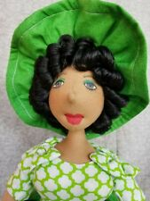 -New- Handmade cloth doll Brenda Kwestionmark#262 green and white