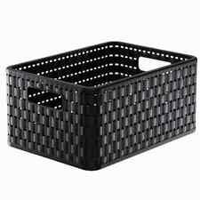ROTHO Aufbewahrungskorb Country 11l schwarz 32,8x23,8x16 cm Rattanoptik Kiste