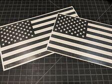"2 Matte Black American Flag Vinyl Decal Sticker, 8 1/2"" x 4 1/2"""