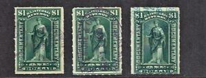 "1898 U.S.REVENUE $1.00 Green  ""Commerce"" Lot of 3  Sc#R173 Var. Cancels"