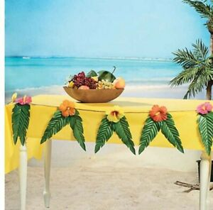 """Hibiscus Floral Garland With Large Tropical Leaves Luau Party Tiki 73"""" 2 pack"""